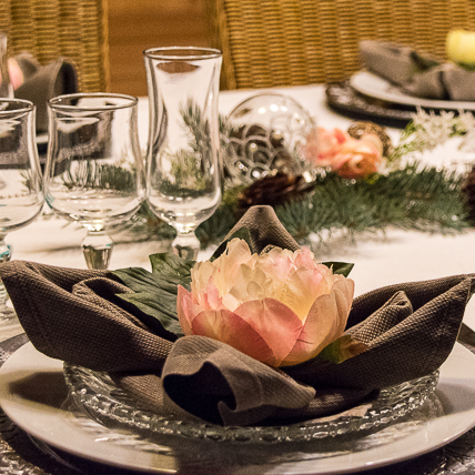 La Coustille's Host's Table is set for the End of the Year Party
